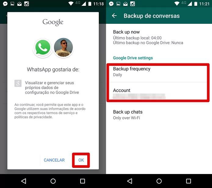 Finalizando a configuração do backup no Google Drive