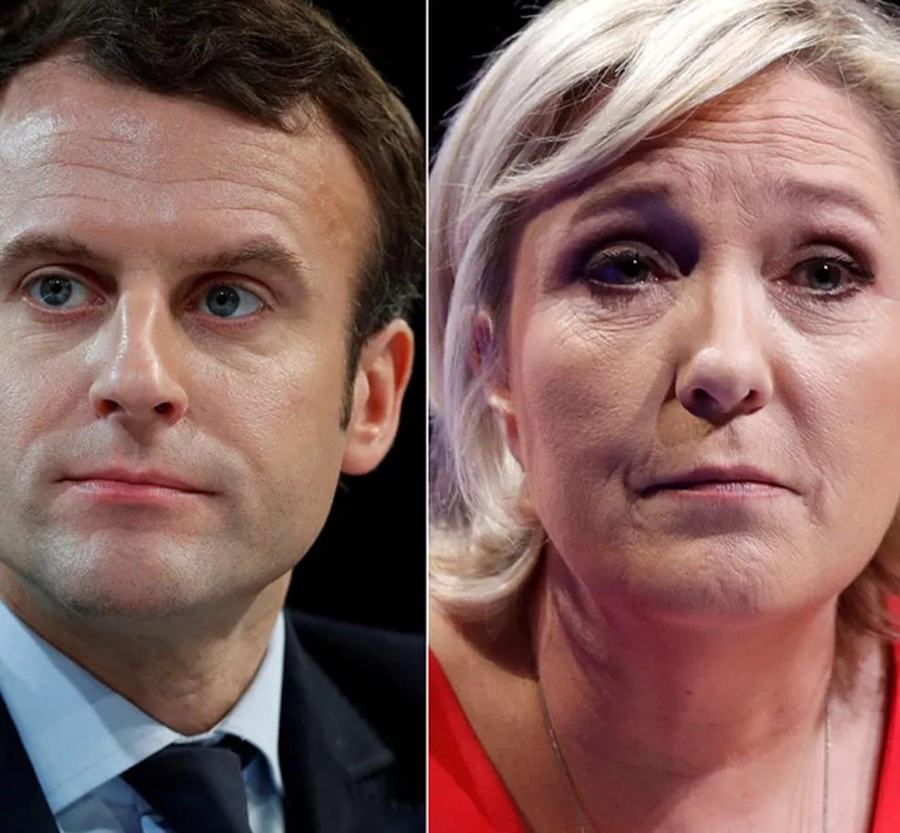Emamanuel Macron e Marine Le Pen (Foto: Reuters)