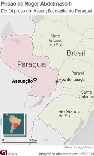 Mapa do Paraguai (Foto: Arte/G1)