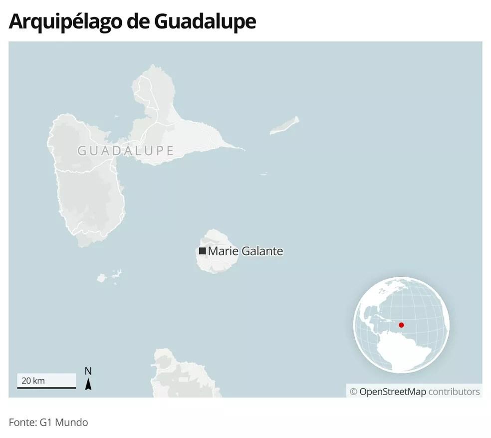 Mapa identifica a ilha de Marie Galante, no arquipélago de Guadalupe — Foto: G1 Mundo