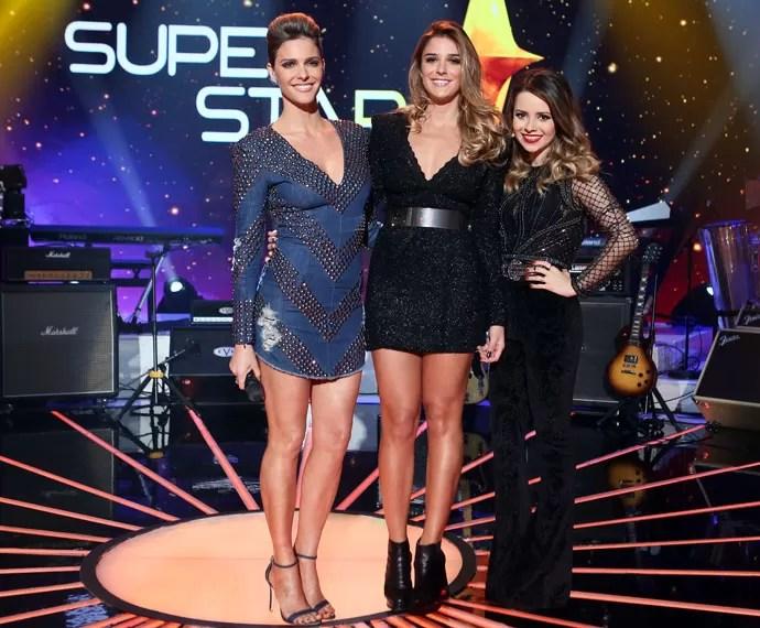 Fernanda Lima, Rafa Brites e Sandy posam antes da final do SuperStar (Foto: Isabella Pinheiro / Gshow)