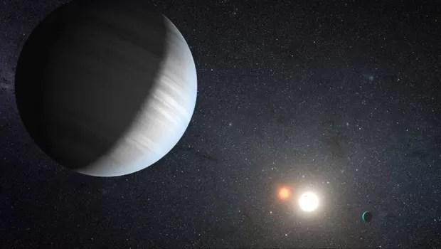 Sistema Kepler 47, com dois planetas girando ao redor de duas estrelas (Foto: NASA/JPL-Caltech/T. Pyle )