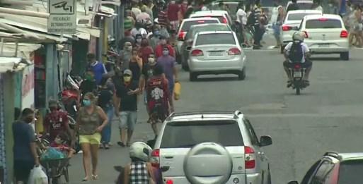 Bairro Alecrim na manhã do último sábado (9) em Natal. Associação de comerciantes se posiciona contra lockdown.  — Foto: Reprodução/Inter TV Cabugi