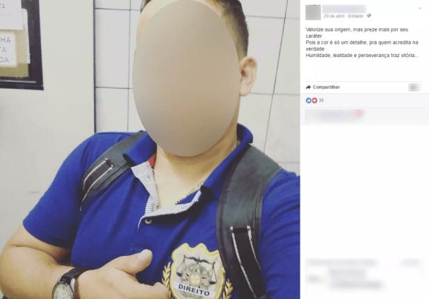 Na rede social, o universitário postou mensagem sobre caráter (Foto: Facebook/Reprodução)