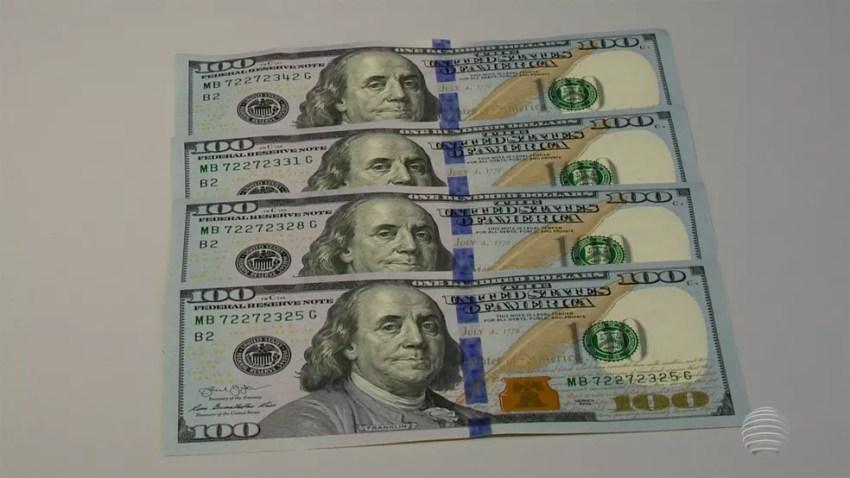 Notas de cem dólares em imagem de arquivo (Foto: TV Globo/Reprodução)