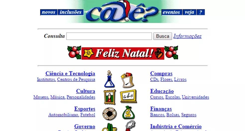 Antes do Google, brasileiros tinham opções como o Cadê? para fazer buscas na Web (Foto: Reprodução/Archive.org)
