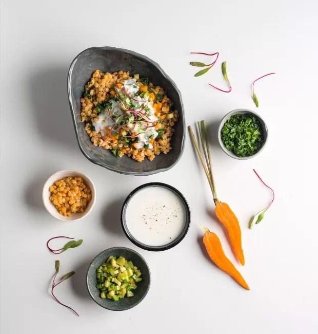 Salada de lentilha, legumes,salsa e ras el hanout. Bowls da Heloisa Galvão (salada, lentilha e salsinha) e da Olaria Paulistana (iogurte e abobrinha) (Foto: Iara Venanzi / Editora Globo)