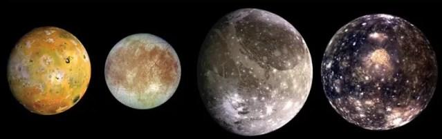 As quatro luas de Júpiter batizadas em homenagem a Galileu: Io, Europa, Ganimedes e Calisto (Foto: NASA)