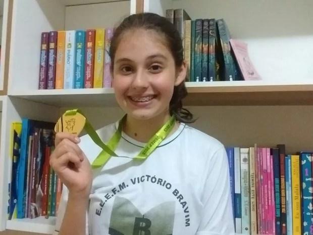 Laysa Gilles Guidi, de Marechal Floriano, é medalhista de ouro pela segunda vez (Foto: Luciene Gilles Guidi)
