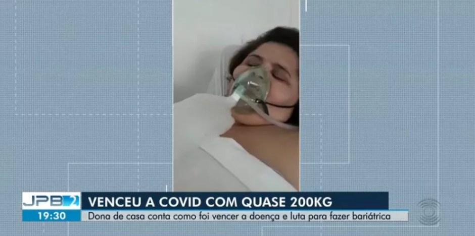 Por causa do excesso de peso, Maria Janileide, de 31 anos, teve muita dificuldade durante a recuperação — Foto: Reprodução/TV Paraíba