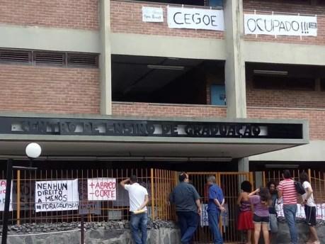 Prédio da UFRPE está ocupado (Foto: Bruno Lafaiete/ TV Globo)