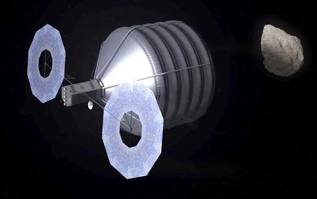 Concepção de como seria a captura de um asteroide por uma nave da Nasa (Foto: Nasa/Advanced Concepts Laboratory)
