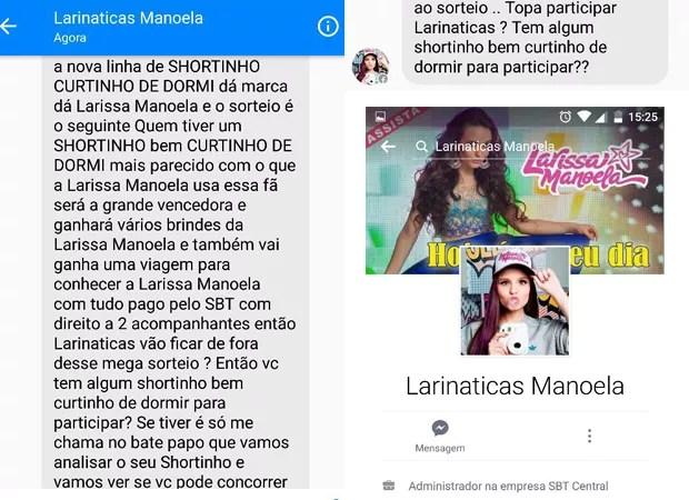 Conversa sobre promoção falsa de Larissa Manoela no facebook (Foto   Reprodução   Facebook) de0838a6af