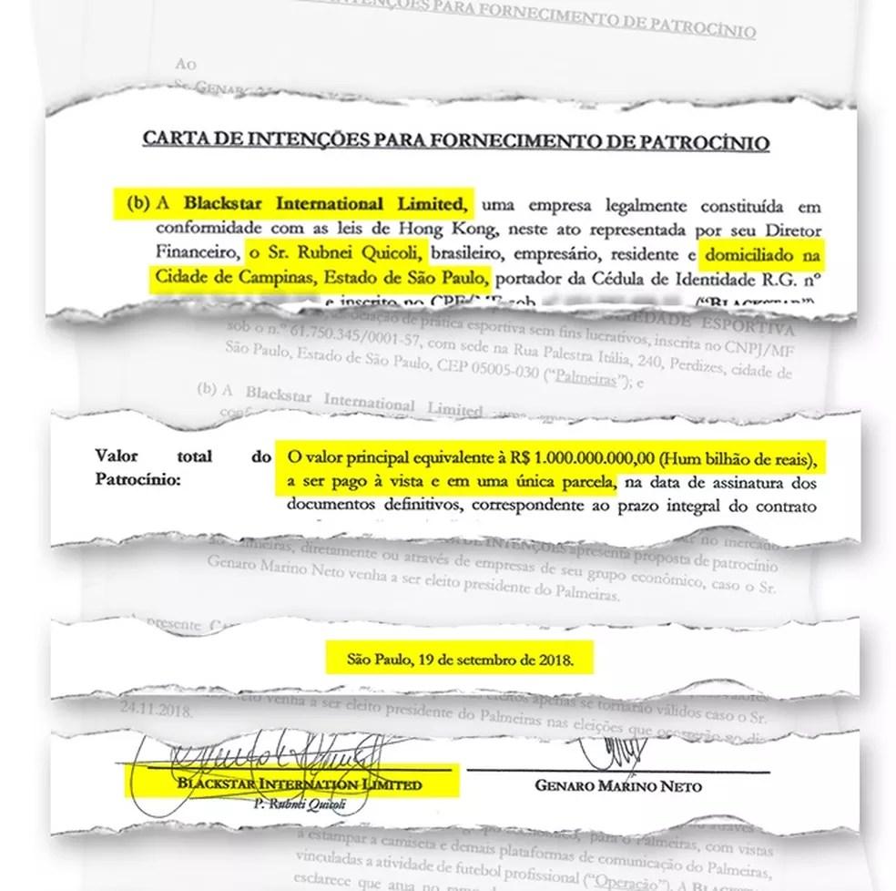 Proposta da Blackstar para o Palmeiras foi apresentada em setembro um mês antes da entrada de Quícoli na Blackstar — Foto: Reprodução