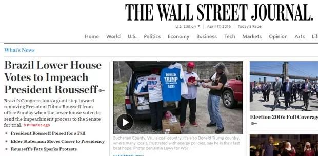 Votação na Câmara também foi divulgada pelo Wall Street Journal (Foto: Reprodução/Wall Street Journal)