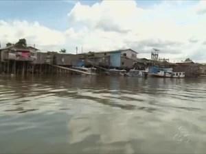 Rio Jari já subiu 40 centímetros por causa das chuivas (Foto: Reprodução/TV Amapá)