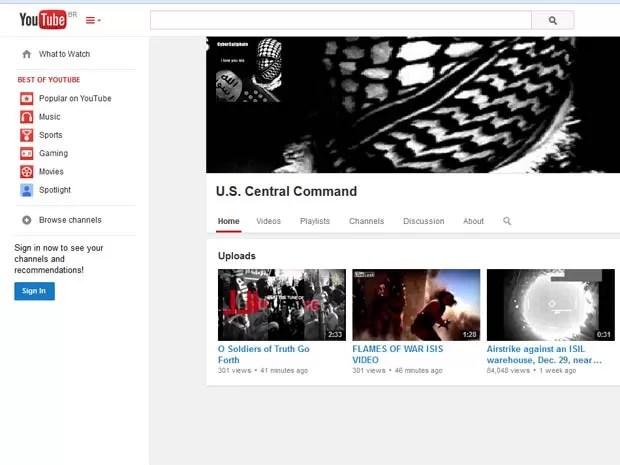 Conta do Comando Central dos EUA no YouTube publicou vídeos sobre jihadistas (Foto: Reprodução/Youtube/U.S. Central Command)