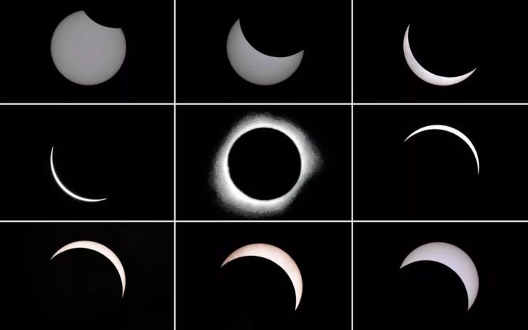 Combinação de fotos mostra a lua passando na frente do sol durante um eclipse solar total na cidade de Ternate, na Indonésia. O eclipse passou pelo vasto arquipélago indonésio, onde milhares de pessoas fizeram festas, orações muçulmanas e rituais tribais — Foto: Bay Ismoyo/AFP