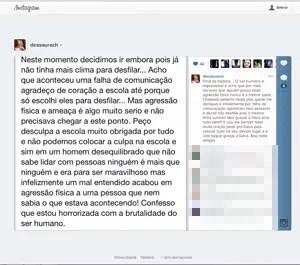 Andressa Urach fala sobre confusão durante desfile no Instagram (Foto: Reprodução)