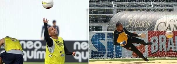 Sheik, do Corinthians, treina para o ataque, equanto o goleiro Bruno, da Ponte Preta, treina sua defesa (Foto: MAURO HORITA/AGIF/AE / Reprodução EPTV / Globoesporte.com)