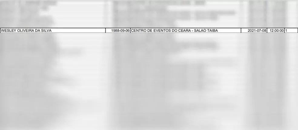 Lista divulgada pela Prefeitura de Fortaleza mostra que Wesley Safadão estava agendado para receber a vacina no Centro de Eventos do Ceará. — Foto: Reprodução