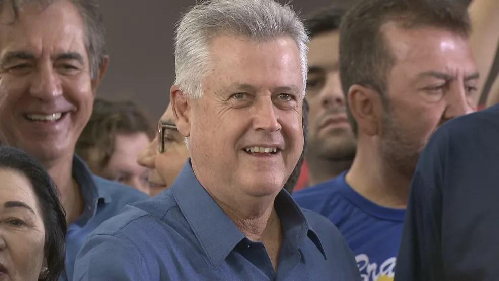 O governador do DF, Rodrigo Rollemberg, durante convenção regional do PSB (Foto: Reprodução/TV Globo)