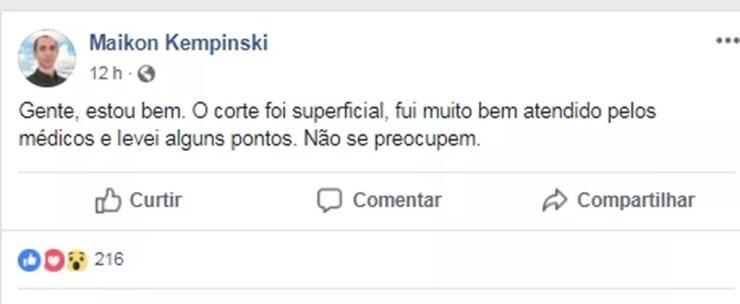 Ator postou no Facebook que está bem e que o corte foi superficial (Foto: Reprodução/Facebook)