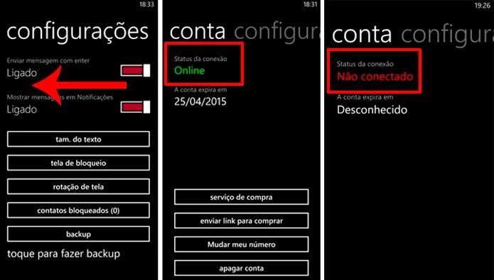WhatsApp para Windows Phone exibe status de serviço ao deslizar tela de configurações do app (Foto: Reprodução/Elson de Souza)