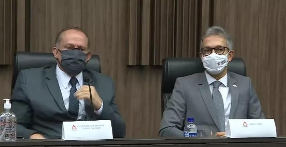 Romeu Zema em coletiva de imprensa sobre acordo com a Vale — Foto: Fábio Venâncio / TV Globo