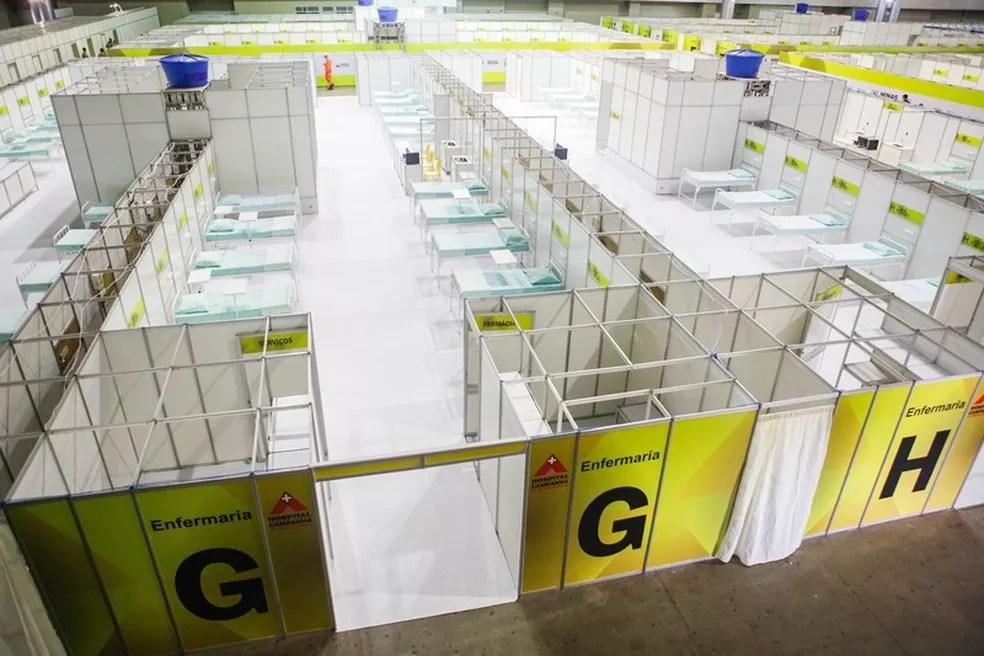 Indústria é parceira na construção do Hospital de Campanha no Expominas — Foto: Pedro Gontijo/ Imprensa MG