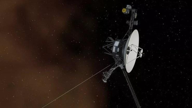 Uma ilustração do Voyager 1, o primeiro objeto criado pelo homem a alcançar o espaço interestelar — Foto: Nasa/BBC