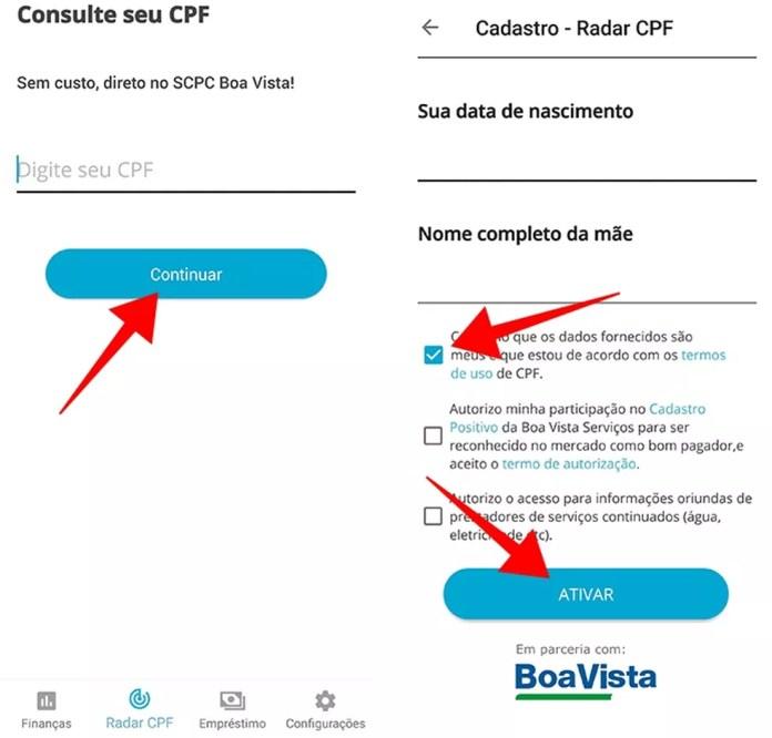 Informe o CPF e outros dados pessoais para ativar o Radar (Foto: Reprodução/Paulo Alves)
