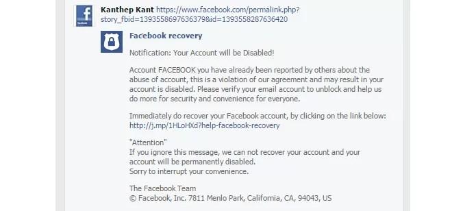 Novo golpe usa conta oficial do Facebook para roubar dados (Foto: Reprodução/Malwarebyte)