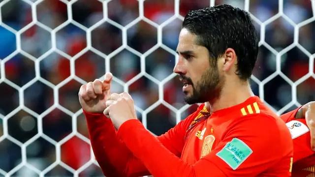 Isco comemora gol Espanha x Marrocos