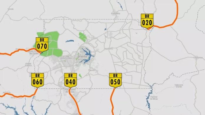 Pontos onde há bloqueio de caminhoneiros, pelo quarto dia, no acesso ao DF (Foto: Arte/TV Globo)