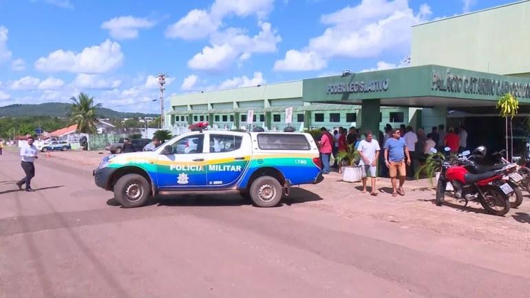 Câmara de Vereadores de Cacoal após assassinato — Foto: WhatsApp/Reprodução