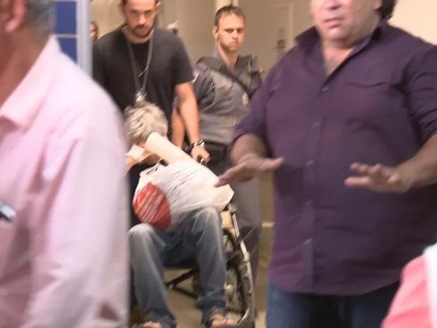 Hugo deixou o hospital e foi para a cadeia de Catanduva (Foto: Reprodução / TV TEM)