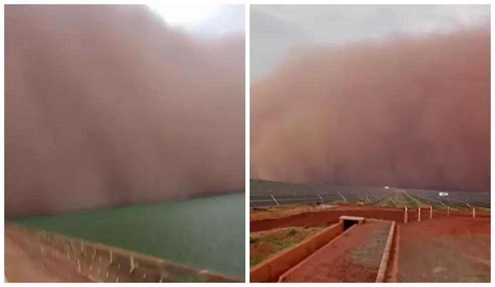 Nuvem gigante de areia também foi filmada por outro ângulo em Pereira Barreto  — Foto: Arquivo pessoal