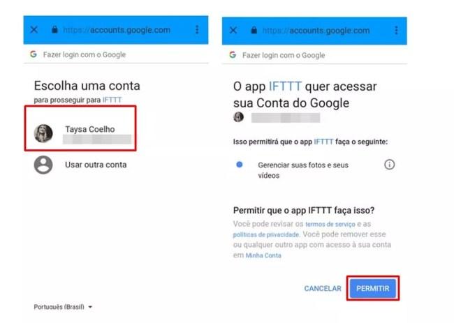 Permita o IFTTT acessar sua conta do Google (Foto: Reprodução/ Taysa Coelho)