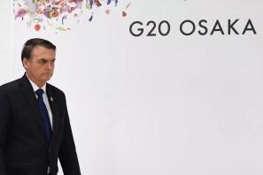 O presidente Jair Bolsonaro durante encontro do G20. — Foto: Charly Triballeau / AFP