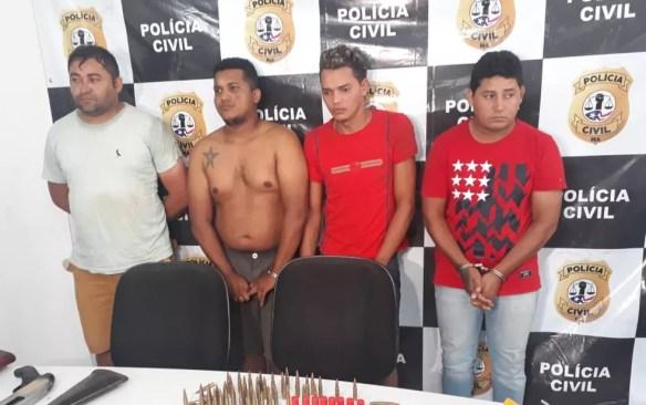 Francisco das Chagas, Antonio Johan, José Neres e Raimundo de Sousa foram presos por suspeita de participar de quadrilha de assalto a banco no Maranhão — Foto: Ádria Rodrigues/TV Mirante