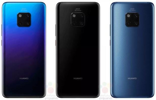 Cores disponíveis do Huawei Mate 20 Pro — Foto: Reprodução/WinFuture