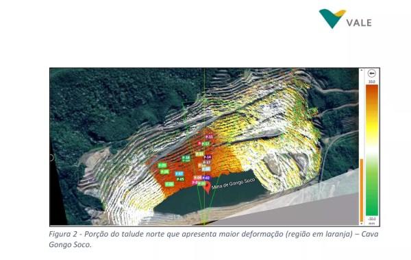 Em documento enviado ao MP, Vale mostra área com maior risco de rompimento do talude norte (em laranja). — Foto: Reprodução