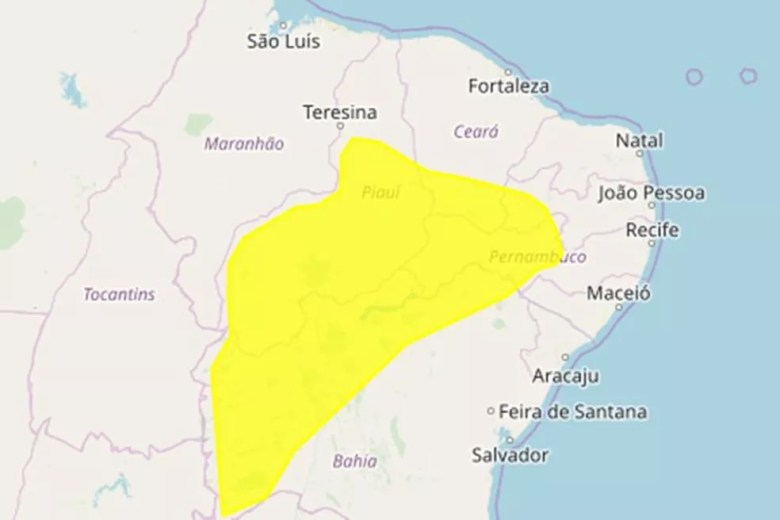 Paraíba tem 47 municípios sob alerta de perigo potencial de chuvas intensas — Foto: Inmet/Reprodução