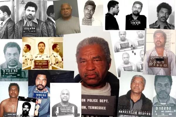 Uma montagem divulgada pelo FBI em 2019 mostrando os vários registros de detenções de Samuel Little ao longo dos anos até ele ser finalmente preso pelos assassinatos que resultaram em sua condenação à prisão perpétua  (Foto: FBI via Getty Images)