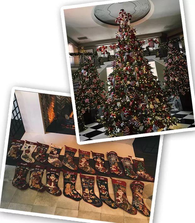 O  décor de Natal da casa da mãe de Kendall, Kris, sob o olhar da top (Foto: Instagram/Reprodução)