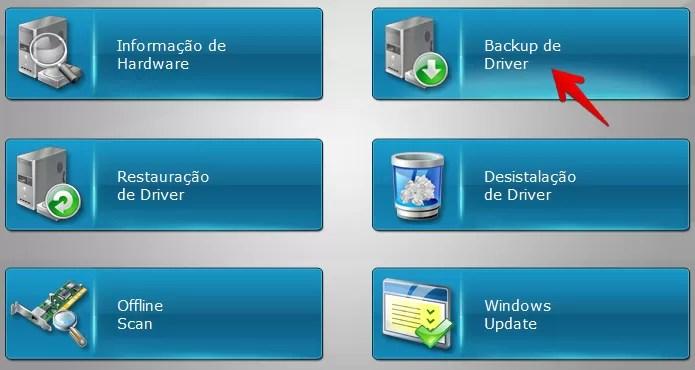 Clique sobre a opção para fazer backup dos drivers (Foto: Reprodução/Helito Bijora)