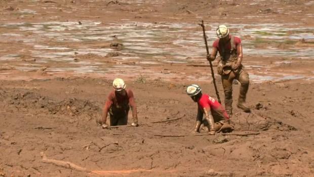 Bombeiros rastejam na lama em busca de vítimas em Brumadinho — Foto: Reprodução/GloboNews