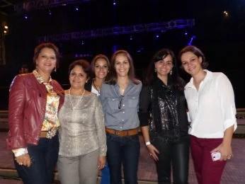 As irmãs Suzana e Neusa (do lado esquerdo) viajaram de Santo Antônio da Platina para ver o show (Foto: Adriana Justi / G1)
