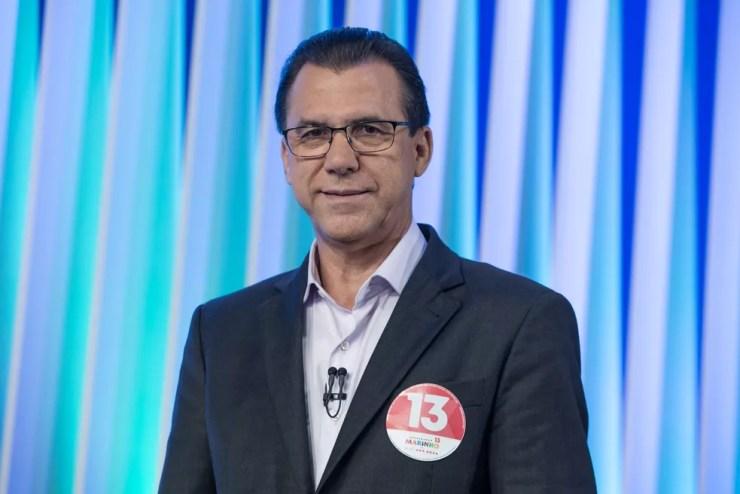 Luiz Marinho, candidato do PT ao Governo de SP, durante debate no estúdio da Globo em São Paulo — Foto: Celso Tavares/G1